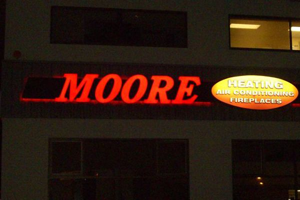 Moore Heating Channel Letter Sign
