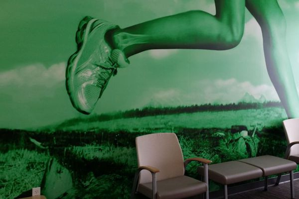 green foot wall mural