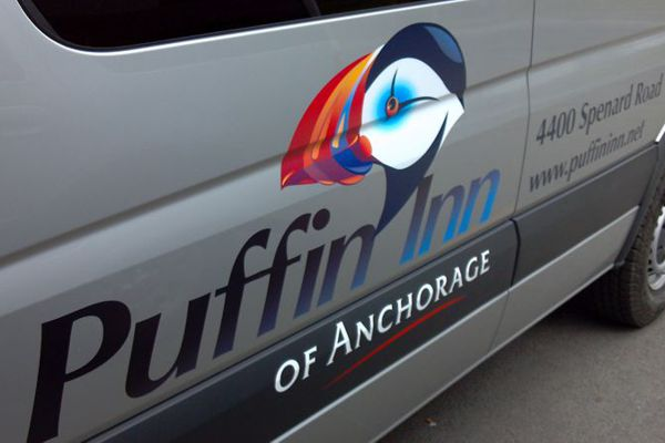 Pinted Logo & Graphics on Silver Puffin Inn Van