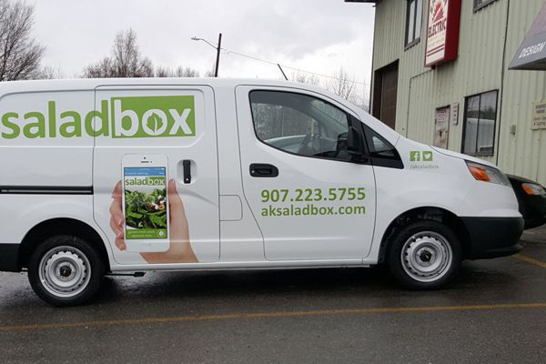 Pinted Logo & Graphics on Salad Box Van